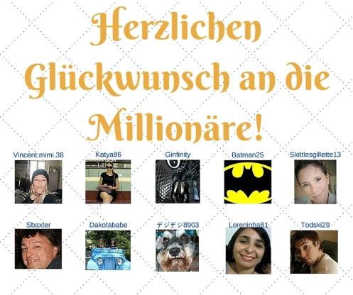 Herzlichen Glückwunsch an die Millionäre!